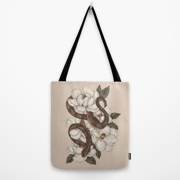 Snake and Magnolias Tote Bag