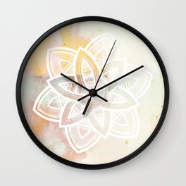 Authentic white mandala on pink Wall Clock