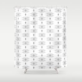 Pastel gray white abstract geometrical tribal pattern Shower Curtain