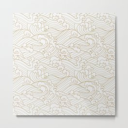 Golden Waves in White Metal Print