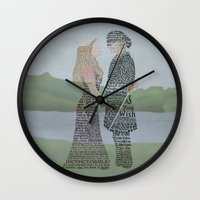 princess bride Wall Clocks featuring The Princess Bride Poster Art Print Typography by Skahfee Studios