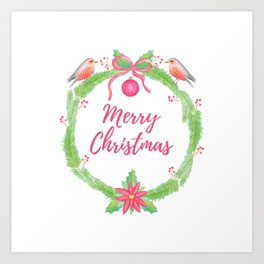 "Watercolor Holly Wreath ""Merry Christmas"" Art Print"