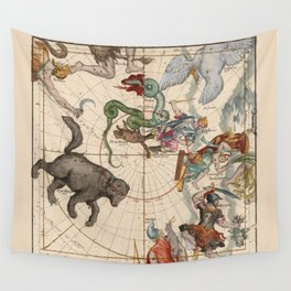 Pictorial Celestial Map with Constellations Ursa Major and Ursa Minor Wall Tapestry
