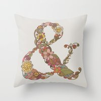 ampersand Throw Pillows featuring Ampersand by Valentina Harper