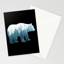 Misty Forest Bear - Turqoise Stationery Cards