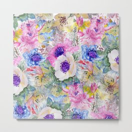 Abstract floral sketch watercolor hand paint. Metal Print