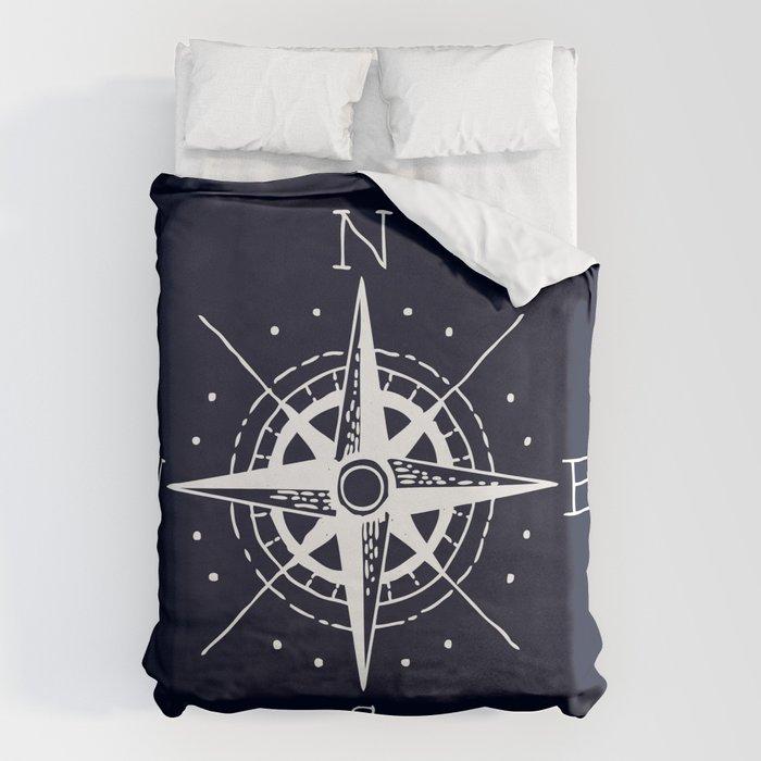 Navy Nautical - White Compass Bettbezug