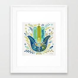 Hamsa Hand – Lime, Turquoise & Navy Palette Framed Art Print