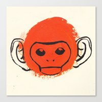 monkey Canvas Prints featuring Monkey by James White