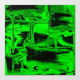 Green Abstract Art Squares Canvas Print