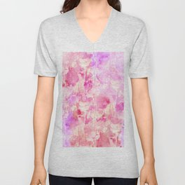 Girly Pink and Purple Painted Sparkly Watercolor Unisex V-Neck