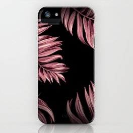 Rose Pink Palm Leaves iPhone Case