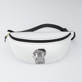 French Weim as Mime Grey Ghost Weimaraner Dog Hand-painted Pet Drawing Fanny Pack