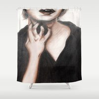 anxiety Shower Curtains featuring Anxiety by Jackie Nagel