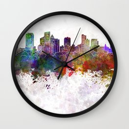 Fort Lauderdale FL skyline in watercolor background Wall Clock