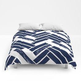 Modern Chevron - Blue Comforters