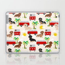 Dachshund Beach day palm tree summer dog cute dog pillow dog blanket beach towel Laptop & iPad Skin