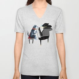 Piano lesson with Angel Unisex V-Neck