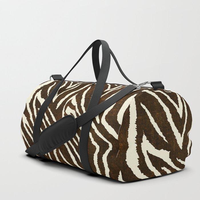 Animal Print Zebra in Winter Brown and Beige Duffle Bag