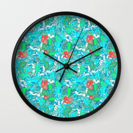 80's Abstract Earring Doodle 6 Wall Clock