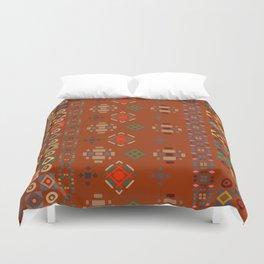Rust Boho Geometric Pattern Duvet Cover