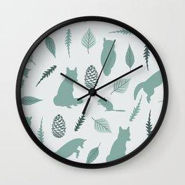 Winter Fox (Moss) Wall Clock