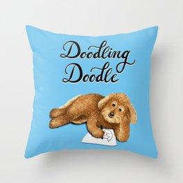 Doodling Doodle (Blue) Throw Pillow