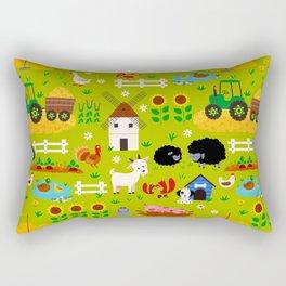 Farm Life Barn Animals Tractor Green Pattern Rectangular Pillow