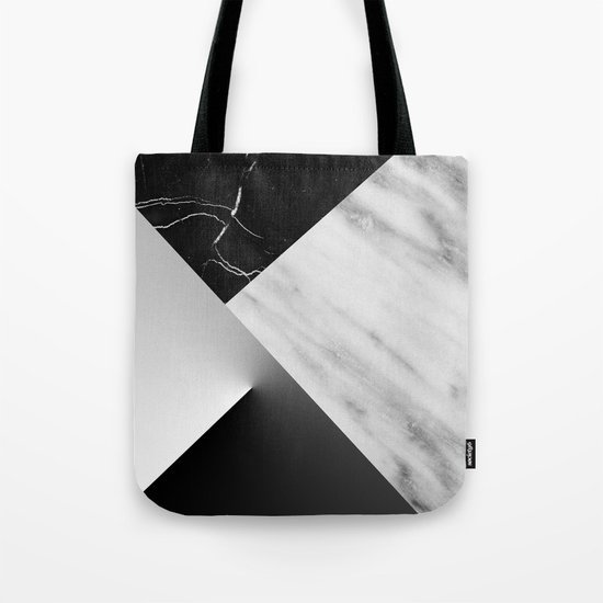 Monochromatic Marble Collage  Tote Bag