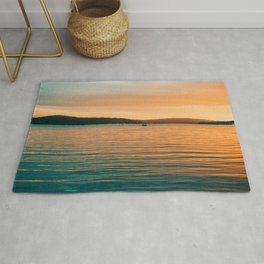 Sunset By Boat Rug