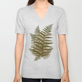 Among the ferns in the forest (military green) Unisex V-Neck