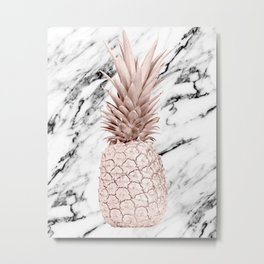 Rose Gold Pineapple on Black and White Marble Metal Print