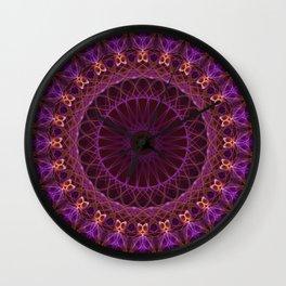 Mandala in pink and orange tones Wall Clock