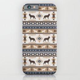 Boho dogs   German shepherd pattern tan iPhone Case