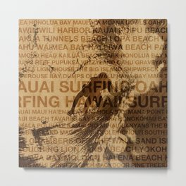 Surfing Hawaii, The Green Room, Hawaiian Surfing Design Metal Print