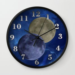 Sky and moons Wall Clock