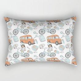 Back to School Watercolor Pink | Blue Girl School Bus Pattern Rectangular Pillow