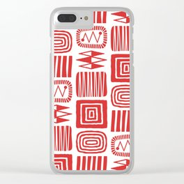 Retro Mid Century Modern Check Pattern 240 Red Clear iPhone Case