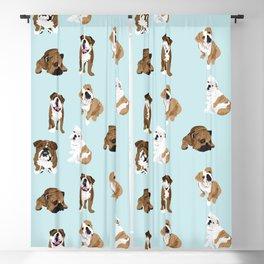 Bulldogs on light blue Blackout Curtain