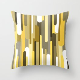 Flowing drops of paint in gold yellow, abstract liquid flow, golden background Throw Pillow