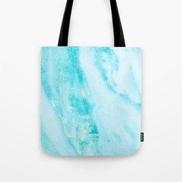 Shimmery Teal Ocean Blue Turquoise Marble Metallic Tote Bag