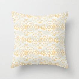 Wooden Diamond Scrolled Ikat Pattern - White Golden Yellow Throw Pillow