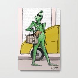 Shopping Grinch Metal Print