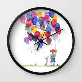 girl with balloons whimsical watercolor illustration Wall Clock