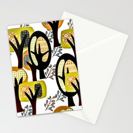 Contemporary tree design ~yellow Stationery Cards
