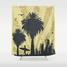 Sunny beach with palm surfer in Hawaii Shower Curtain