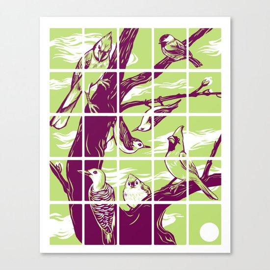 Woodcut birds Canvas Print