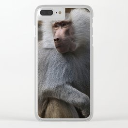 MAGIC MONKEY - Olive Baboon Clear iPhone Case