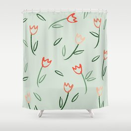 Plants and Petals in vert Shower Curtain