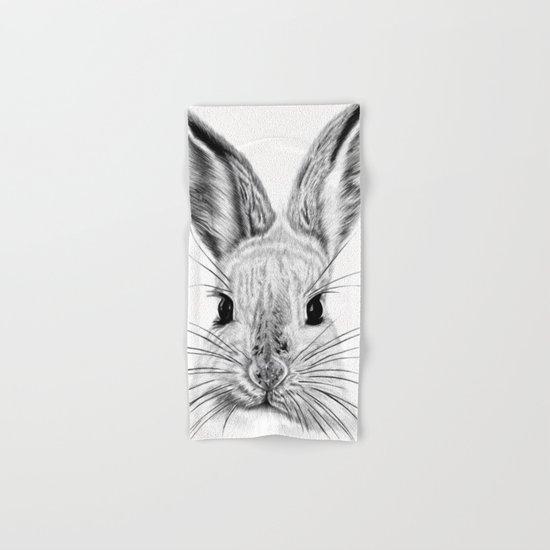 Black and White Bunny Hand & Bath Towel